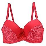 Erotic underwearZY Sportunterwäsche Sport-BHS Damen Große Hochwertige Blumen Tief V Sexy Unterwäsche BH Rot_46 / 105Dd_48 / 110Dd_50 / 115Dd in