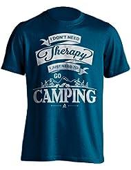 """Funny Camping camiseta """"I no necesita Terapia, I Just Need To Go Camping"""" Camping–Camiseta de Idea de regalo para Dad, Brother, Uncle o para un amigo en cualquier ocasión. Regalo de cumpleaños, Regalo del día de padre y regalo de Navidad..., color azul marino, tamaño XXL"""