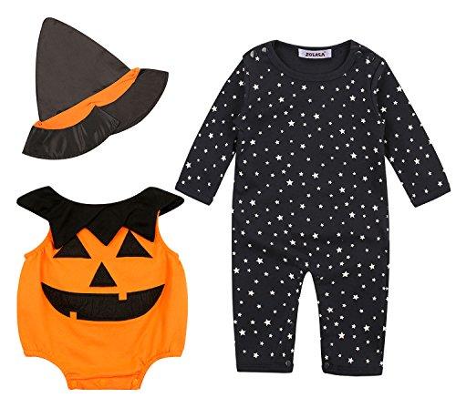 ZOEREA 3 tlg Baby Mädchen Halloween Kostüm Spielanzugs+Hut 3-teiliges Outfit lange Ärmel warme bequeme Strampler Bodys für die Saison Frühjahr und (Kostüme Babys Bequeme Für)
