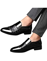 Zapatos de hombre JiaMeng Moda Zapatos Casuales Zapatos de Vestir de Negocios Punta en Punta Zapatos de un Pedal Casual con Cremallera Lateral con Cremallera