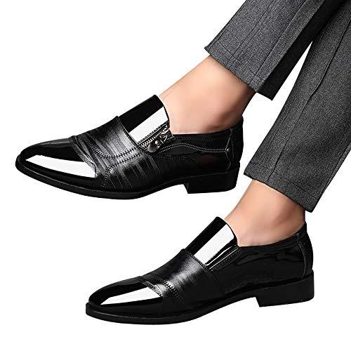 Zapatos de hombre JiaMeng Moda Zapatos Casuales Zapatos de Vestir de Negocios Punta en Punta Zapatos de un Pedal Casual con Cremallera Lateral con Cremallera (Negro,EU37=CN38)