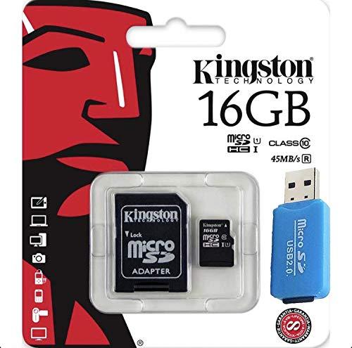 Foto Micro SD Kingstone 16 GB Classe 10 + Lettore Chiavetta USB per Micro SD fino a 64 GB