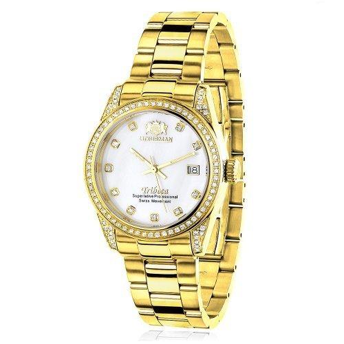 LUXURMAN 2488 - Reloj para mujeres, correa de acero inoxidable color dorado