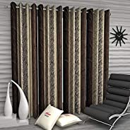 Home Sizzler Abstract Eyelet Polyester Long Door Curtain Set - 9ft, Set of 4, Brown