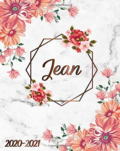 Jean: 2020-2021 Two-Year Weekly & Monthly Planner | 2 Year Agenda & Organizer | To-Do's, Inspirational Quotes, Vision Boards, Notes | White Marble & Bronze Floral Name Gift for Girls & Women -