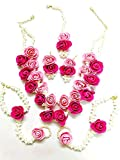 Best Necklaces 6 Piece - Tingoking Floret Jewellery Beautiful Pearl Designer Pink Flower Review
