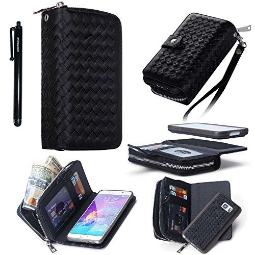Preisvergleich Produktbild UBMSA-2016 neueste Luxus Reißverschluss Leder Geldbörse Kastenabdeckung für Samsung Galaxy Note 4 mit Kreditkarte / Visitenkarten Halter [100% hand-Webmuster]