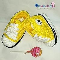 Patucos para Bebé Recién Nacido tipo Converse, 0-3 meses Amarillo. Handmade. Crochet. España