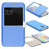 Urcover® View Case Handy Schutz-Hülle | Samsung Galaxy S5 | Hart Kunststoff Blau | Elegant Wallet Cover Sicht-Fenster | leichte Schale dünne Tasche