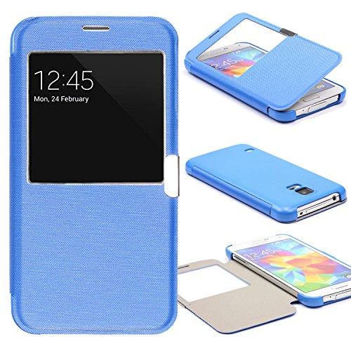 Urcover® View Case Handy Schutz-Hülle | Samsung Galaxy S5 Mini | Hart Kunststoff Blau | Elegant Wallet Cover Sicht-Fenster | leichte Schale dünne Tasche (S5 Mini Entsperrt)