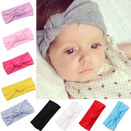 iEFiEL 9 Stück Süßes Baby Mädchen Kinder Prinzessin Stretch Hasenohren Stirnbänder Haarbänder - Warm Wetter Kostüm Baby