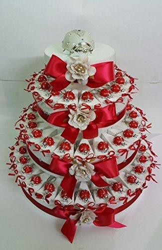 Preisvergleich Produktbild Torte Bomboniere Schlüsselkette Marienkäfer rote Taufe Kommunion Geburt Geburtstag mit Geschenkanhänger fetta singole
