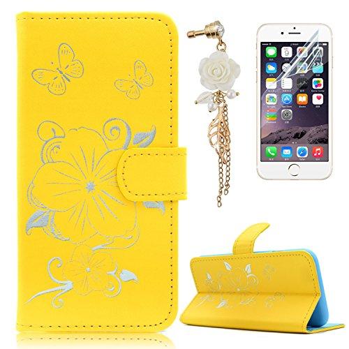 iPhone 6S Plus Hülle,iPhone 6 Plus Lederhülle,Apple iPhone 6S Plus/6 Plus Leder Wallet Tasche Brieftasche Schutzhülle,Sunroyal Schön Elegant Retro Golden Mädchen Blumen Vogel Katze Malerei Schmetterli Schmetterling 2