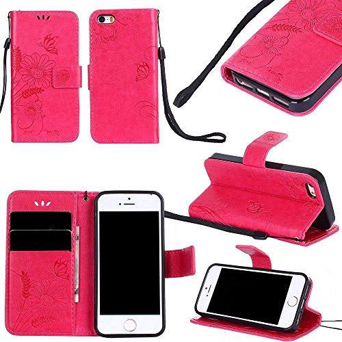 Horizontale Bookstyle Flip Case Premium PU Ledertasche, Solid Color Embossed Blumen Schutzbrieftasche Case Cover mit Lanyard & Stand für iPone 5 & 5s & SE ( Color : Modena ) Red