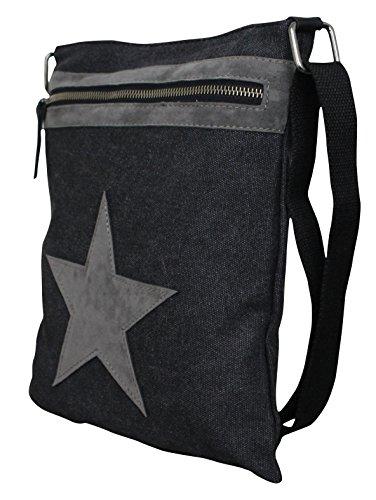Damen Stern Handtasche Schultasche Clutch TOP TREND Tragetasche Modell 4 Schwarz/Grau