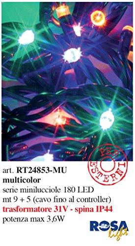 Catena luminosa 180led con controller gioco luci/trasformatore ip44 - per uso esterno - ideale per alberi di natale/presepi/composizioni floreali e spazi esterni (led multicolore)