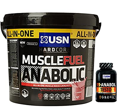 USN Muscle Fuel Anabolic 4 kg, Ultimate All-In-One shake,Supports Muscle Performance,Recovery and Growth,Free USN 19 Anabol Testo (45 Caps) from USN