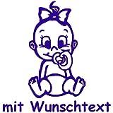 Babyaufkleber mit Name/Wunschtext - Motiv 713 (16 cm) - 20 Farben und 11 Schriftarten wählbar