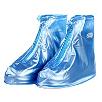 Shoes Cover Reusable Zippered Waterproof Overshoes Blue Thicken Sole Slip-resistant Rain Boots for Women Girls (L)