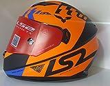 Ls2 320 Full Face Dual Helmet Outer Clear Visor inner tinted Googles (L - 57 - 59 Cms, Orange with Black)
