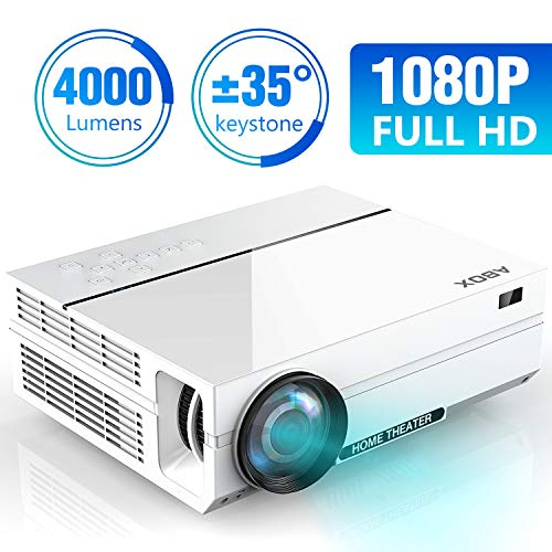 5117xcna4jL. SS500  - ABOX Projector 1080P Native, 4500 Lux Full HD Projector Native 1920x1080P LED Projector Support 4K, LCD Projector 4000:1 Contrast Compatible with HDMI/VGA/TF/AV/USB/PS4/TV Box, Dual HD and USB Inputs