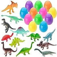 XADP 12 Pack Toys Filled Easter Eggs Plastic Prefilled with 12 Different Dinosaurs Easter Basket Stuffer for Kids Easter Egg Hunt Party Favors