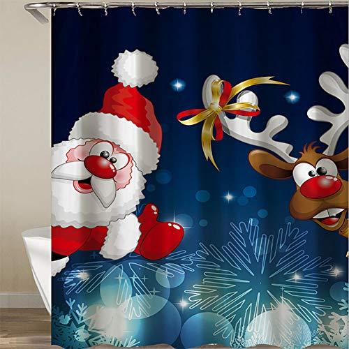 LTJY Duschvorhang Santa Claus-Hellblauer Hintergrund Santa Claus Wearing Red Dress mit Hut-weißem Bart-Ren mit dem 3D des Digitaldrucks mit 12 Haken,für Badezimmer,180 * 200cm