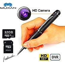MUXAN Bolígrafo Espía Grabadora de lapices con 1080P cámara Oculta, Tarjeta SD de 32GB,