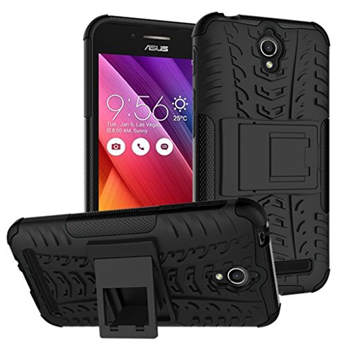 Alphin Back Stand Spider Hard Dual Armor Hybrid Bumper Back Case Cover For Asus Zenfone Go (5.0) (KICK STAND RUGGED BLACK)  available at amazon for Rs.219