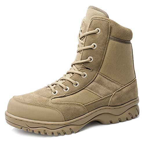 MERRYHE Zipper Desert Boot Für Herren Armee Militär High Top Taktische Spezialeinheiten Stiefel Alle Gelände Sicherheit Polizei Schutz Schuhe,Sandy-36 Zipper Jump Boot