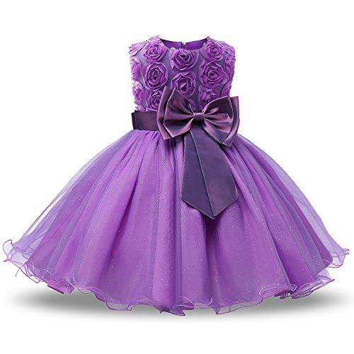 NNJXD Mädchen Ärmellos Spitze 3D Blumen Tutu Urlaub Prinzessin Kleider Größe(130) 4-5 Jahre Lila (Lila Kleid Prinzessin Kleinkind)