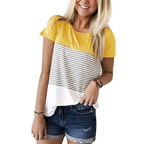 ZJCTUO Frauen Kurzarm T Shirts Rundhals Streifen Baumwolle Shirts Casual Tops Tees (Weiß-streifen-baumwoll-shirt)