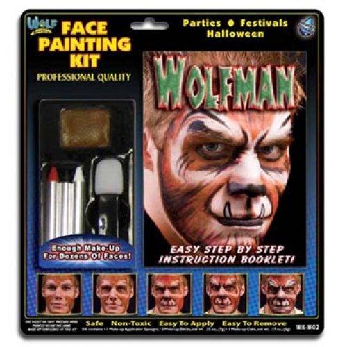 Wolfman Kind Kostüm - Wolfman Gesichtsmal-Set von Wolfe (3 Farben)