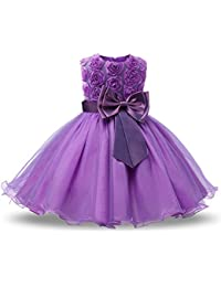 NNJXD Ragazza Gonna a Fiori in Pizzo 3D Senza Maniche Vestito da Principessa delle Feste