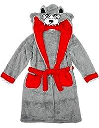 Niño cara de lobo Con capucha Para acurrucarse Bata con cola Albornoz tallas desde 7 a 13 Años
