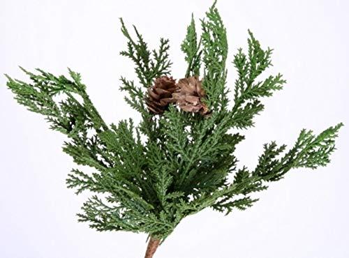 Shophaus24 3 Stück künstliche Thuja Pflanzen Stecker mit 7 Zweigen und 2 Zapfen. 23 cm. 3 Stück X 7