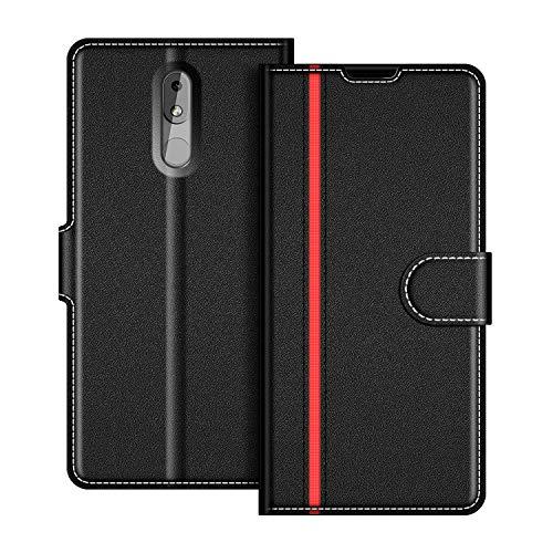 COODIO Handyhülle für Nokia 3.2 Handy Hülle, Nokia 3.2 Hülle Leder Handytasche für Nokia 3.2 Klapphülle Tasche, Schwarz/Rot