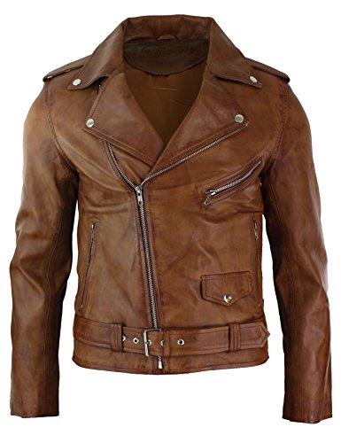 Herrenjacke 100% Echtleder Braun Eng Tailliert Brando Stil Weiches Leder