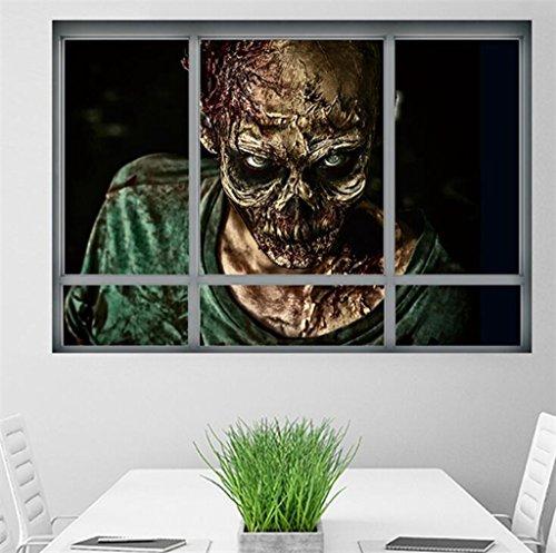 Wmshpeds Kreative 3D-Fake Fenster Wallpaper Halloween Zombie Aufkleber Wohnzimmer Schlafzimmer Dekoration (Halloween Zombies Wallpaper)