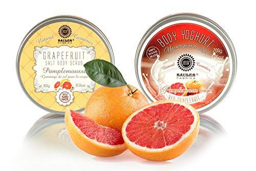 Saules Fabrika Kosmetik Geschenk-Set Körper-Peeling + Creme, (Body-Scrub + BodyYoghurt), mit reichen Ölen, 100% Vegan, Bio, Handmade, mit Meersalz (Red Grapefruit) -