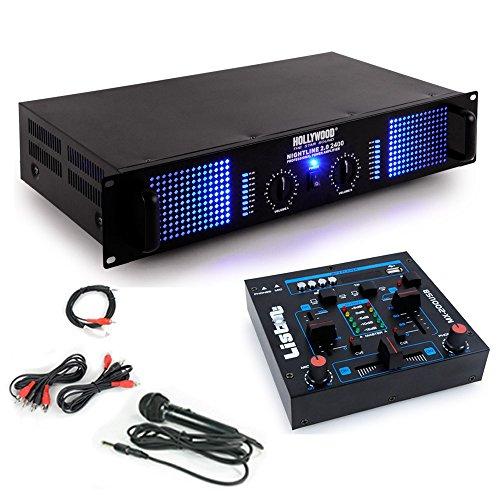 PA Erweiterungs Anlage 2400W Verstärker USB MP3 Mischpult Mikrofon DJ-Add-On 7