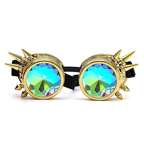 FRAUIT Herren Kaleidoskop Sonnenbrille Bunte Brille Rave Festival Party EDM Sonnenbrille gebeugte Linse Niet-Gläser Ultra Premium Qualität Steampunk Cyber Brille Viktorianischen