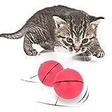 Katze Interaktives Spielzeug, AOLVO Automatisches Rotierender Ball mit LED Flash Rolling für Puppy Kitten Cat Pet Fangen und Jagen Fun rot