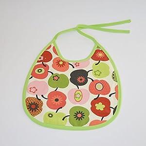Baby Kind Essenslatz Lätzchen Bib Jungen Mädchen unisex Äpfel grün rot 0-3 Jahre Frottee