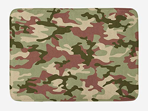 Pink Camo Scrubs (Camo Bath Mat, Illustrated Green Camouflage in Forest Colors Hunter Combat, Plush Bathroom Decor Mat with Non Slip Backing, 23.6 x 15.7 Inches, Dried Rose Dark Green Army Green)
