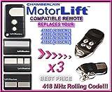 3x 418XE, Garagentorantrieb Motorlift 84335EML (EML EML), 4182E, 4183E, 4185E (EML EML) Kompatibel Ersatz Fernbedienung Remote Control Handsender, 418MHZ Rolling Code (Schlüsselanhänger)