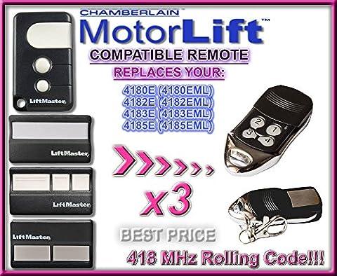 3x 418XE, Garagentorantrieb Motorlift 84335EML (EML EML), 4182E, 4183E, 4185E (EML EML) Kompatibel Ersatz Fernbedienung Remote Control Handsender, 418MHZ Rolling Code (Liftmaster Tür Batterie)