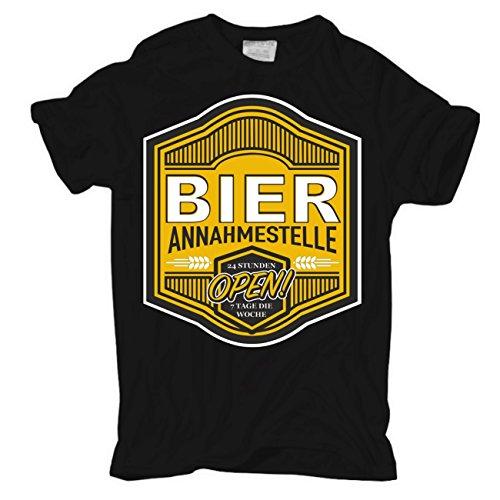 Männer und Herren T-Shirt BIER Annahmestelle Körperbetont schwarz