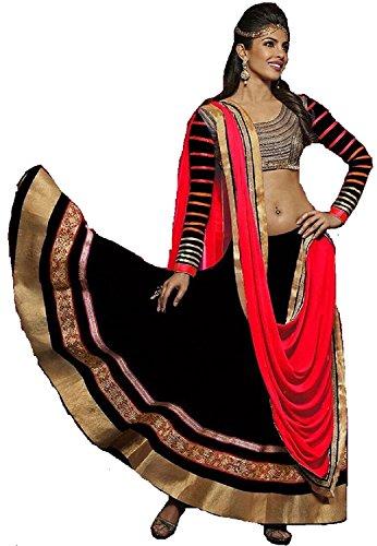 Riyan Enterprise Black and Red Color Latest Designer Party Wear, Traditional Lehenga...