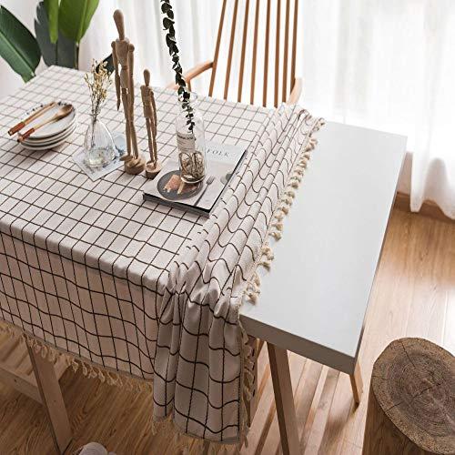 SHPPD Plaid bestickte einfache Tischdecke einfarbig Baumwolle Leinen Quaste rechteckigen Couchtisch Esstisch B 90x90cm -